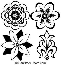 dekoracyjne elementy, (vector), rocznik wina, projektować, kwiatowy