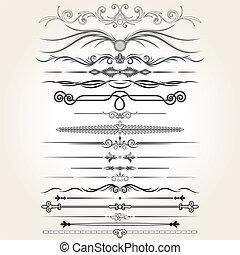dekoracyjne elementy, wektor, reguła, lines., projektować
