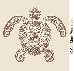 dekoracyjny, żółw, wektor