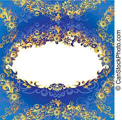 dekoracyjny, błękitny, ułożyć, kwiatowy