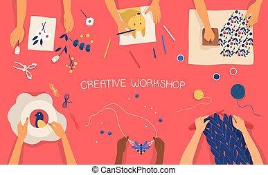 dekoracyjny, barwny, zrobienie, dzianie, embroidering, -, work., wektor, chorągiew, craftwork, poziomy, tkactwo, children., warsztat, rysunek, cechowanie, płaski, siła robocza, twórczy, illustration., scrapbooking
