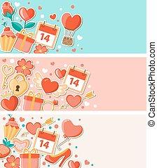 dekoracyjny, chorągwie, valentine