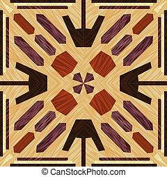 dekoracyjny, ciemna sztuka, drewniany, lekki, obiekt, ozdoba, wzory, symetryczny, drewno, drewno, inkrustować, textured, dachówka, typy