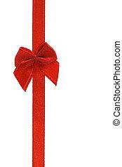 dekoracyjny, czerwona wstążka, łuk