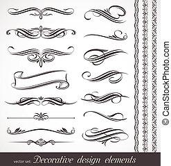 dekoracyjny, dekoracje, elementy, &, wektor, projektować, strona