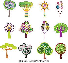 dekoracyjny, drzewa, ikony
