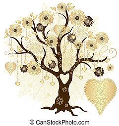 dekoracyjny, drzewo, złoty, valentine