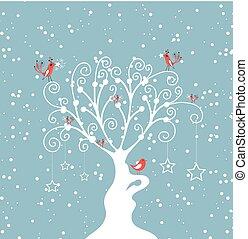 dekoracyjny, drzewo zima
