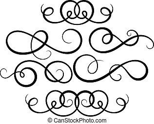 dekoracyjny, elements., calligraphic