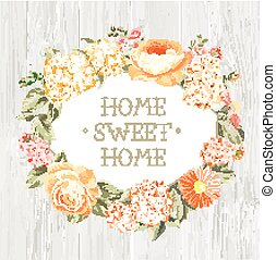 dekoracyjny, flowers., etykieta