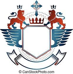 dekoracyjny, graficzny, emblemat, illustration., królewski, heraldyczny, korona, herb, religijny, odizolowany, cross., lew, wektor, zwierzę, marynarka, logo, element