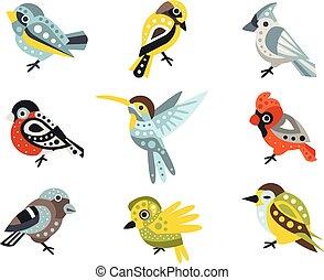 dekoracyjny, hummingbirds, zwierzęta, gatunek, ilustracje, wektor, projektować, artystyczny, dziki, mały, komplet, wróble, ptak