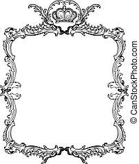 dekoracyjny, illustration., rocznik wina, wektor, ozdobny, frame.
