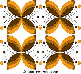 dekoracyjny, ilustracja, brązowy, struktura, wektor, kwiat
