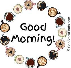 dekoracyjny, kawa, dobry, wieniec, ozdoba, styl, ręka, mugs., pociągnięty, komik, filiżanki, rysunek, morning.