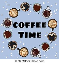 dekoracyjny, kawa, wieniec, mugs., ozdoba, ręka, time., pociągnięty, komik, filiżanki, rysunek