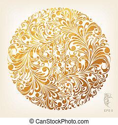 dekoracyjny, koło, złoty, próbka