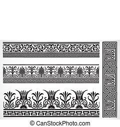 dekoracyjny, komplet, brzeg, wektor