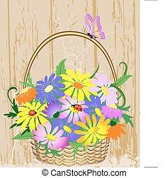 dekoracyjny, kosz, kwiaty