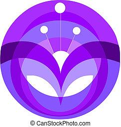 dekoracyjny, kwiat, purpurowy, ilustracja, element, wektor