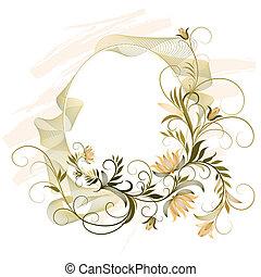 dekoracyjny, kwiatowy, ułożyć, ozdoba