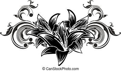 dekoracyjny, kwiaty, projektować