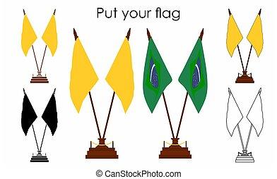 dekoracyjny, outline., szkic, flag., bez, only., stół, icon., barwny