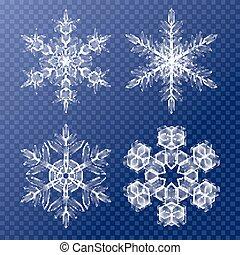 dekoracyjny, płatki śniegu, próbka, set., temat, tło, boże narodzenie, zima