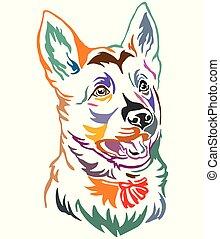 dekoracyjny, pasterz, barwny, niemiec, pies, ilustracja, wektor, portret, szczeniak