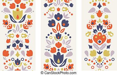 dekoracyjny, pionowy, tulipany, trzy, seamless, wzory, lud