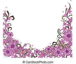 dekoracyjny, różowy, brzeg, kwiatowy