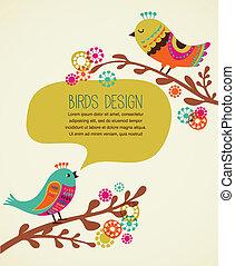 dekoracyjny, sprytny, tło, barwny, ptaszki