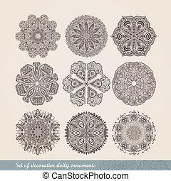 dekoracyjny, szydełkowanie, komplet, koronka, handmade, spojrzenia, ozdoba, próbka, szczegóły, indianin, koło, ozdoba, kalejdoskopowy, tło, kwiatowy, podobny, lace., dużo, mandala., wektor, dziewięć, okrągły