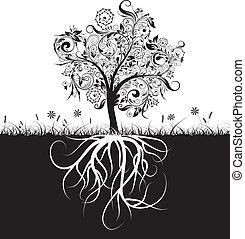 dekoracyjny, trawa, podstawy, wektor, drzewo