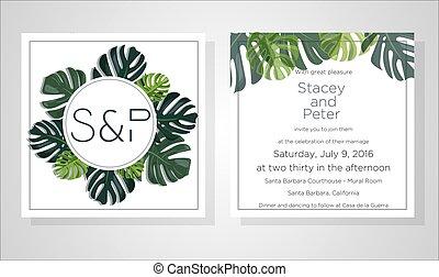 dekoracyjny, ułożyć, design:, zaproszenie, elegancki, dłoń, tropikalny liść, dziękować, pattern., wieniec, wiejski, szablon, rsvp, zieleń, ty, zapraszać, akwarela, ślub, kwiatowy, karta, eukaliptus, gałęzie, nowoczesny, wektor, zielony