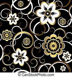 dekoracyjny, (vector), próbka, seamless, czarnoskóry, kwiatowy