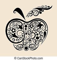 dekoracyjny, wektor, jabłko