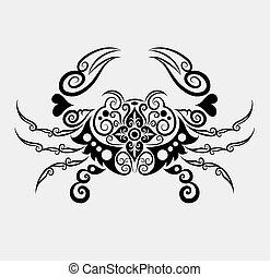 dekoracyjny, wektor, krab