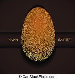 dekoracyjny, złoty, greeting., wielkanoc, egg., święto, chorągiew, szczęśliwy