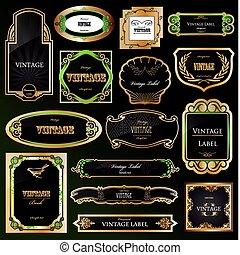 dekoracyjny, złoty, komplet, labels., wektor, czarnoskóry, układa
