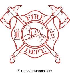 dept., wektor, hełm, axes., label., krzyżowany, ogień