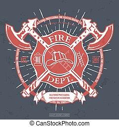 dept., wektor, t-shirt, hełm, label., krzyżowany, graphics., ogień, siekiery