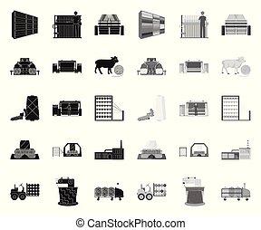 design., wektor, tekstylia, black., ikony, komplet, sieć, wyposażenie, pień, zbiór, przemysł, symbol, mono, illustration., tekstylny