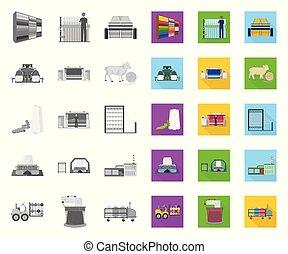 design., wektor, tekstylia, illustration., płaski, komplet, sieć, wyposażenie, pień, zbiór, przemysł, symbol, ikony, mono, tekstylny