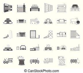 design., wektor, tekstylia, mono, komplet, sieć, wyposażenie, pień, szkic, zbiór, przemysł, symbol, ikony, illustration., tekstylny
