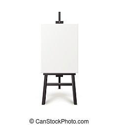 deska, czysty, drewniany, sztaluga, kanwa., biały, sztuka, malarstwo