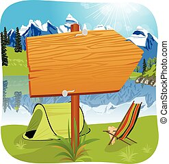 deska, ilustracja, drewniany, wejście, reputacja, czysty, campsite