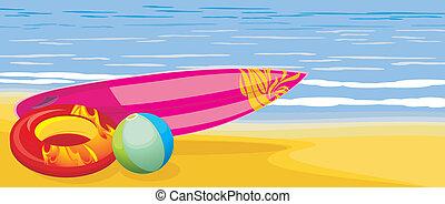 deska kipieli, piłka, plaża, materac