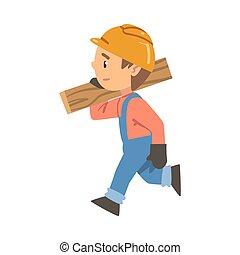 deska, mały, rysunek, pracownik, chłopiec, ilustracja, kombinezon, kapelusz, chodząc, litera, zbudowanie, twardy, transport, styl, wektor, budowniczy, błękitny