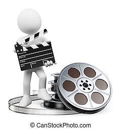 deska, szpula, kołatka, film, ludzie., 3d, biały